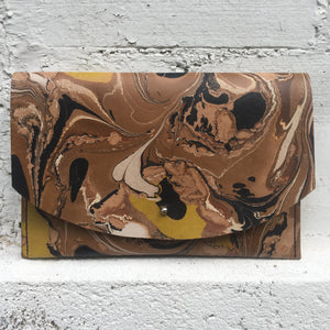 Hard Back Curved Clutch Umber & Chartreuse - No One Alike