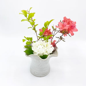 Ruffled Meloy White Ikebana - No One Alike
