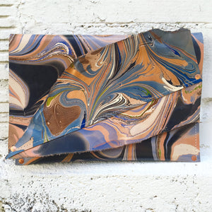 Dusty Blue & Gold Collage Clutch - No One Alike