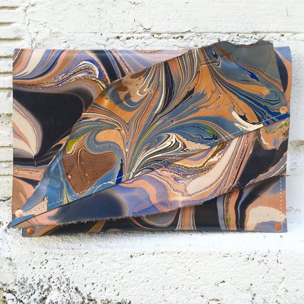 Dusty Blue & Gold Collage Clutch