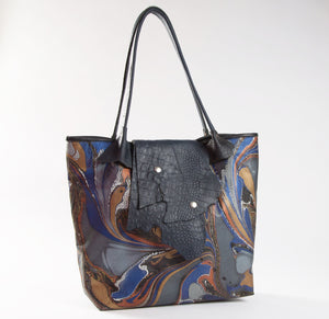 Black Marbled Calf Tote - No One Alike