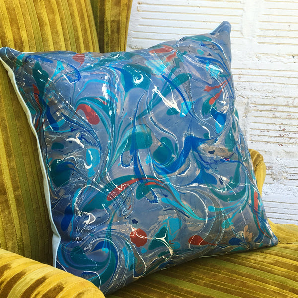 Deep Blue & Rust Pillow - No One Alike