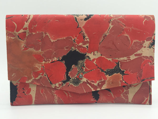 Red Crackle Clutch