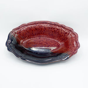Mountain Red Oval Fluted Dish - No One Alike