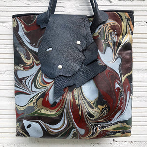 Red on Black Large Tote with Lizard Flap - No One Alike