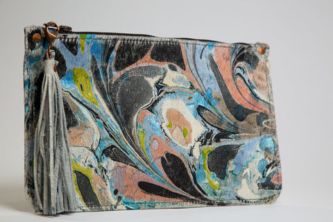 Blue Hair on Hide Zipper Clutch