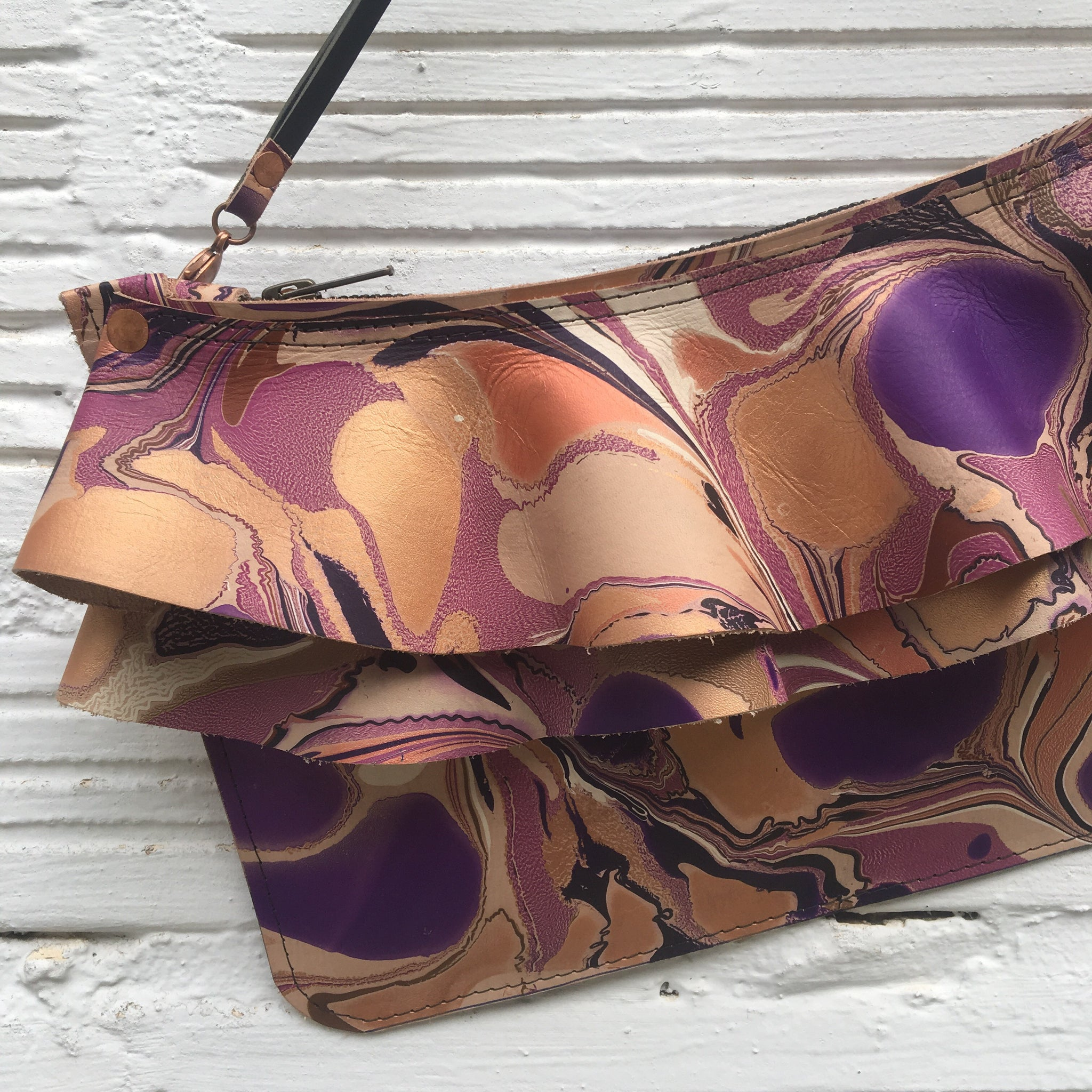 Purple Ruffle Zipper Clutch - No One Alike