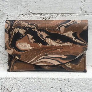 Hard Back Curved Clutch Brown Crackle - No One Alike