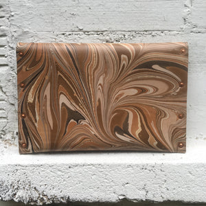 Hard Back Floral Curved Clutch Wood Grain - No One Alike