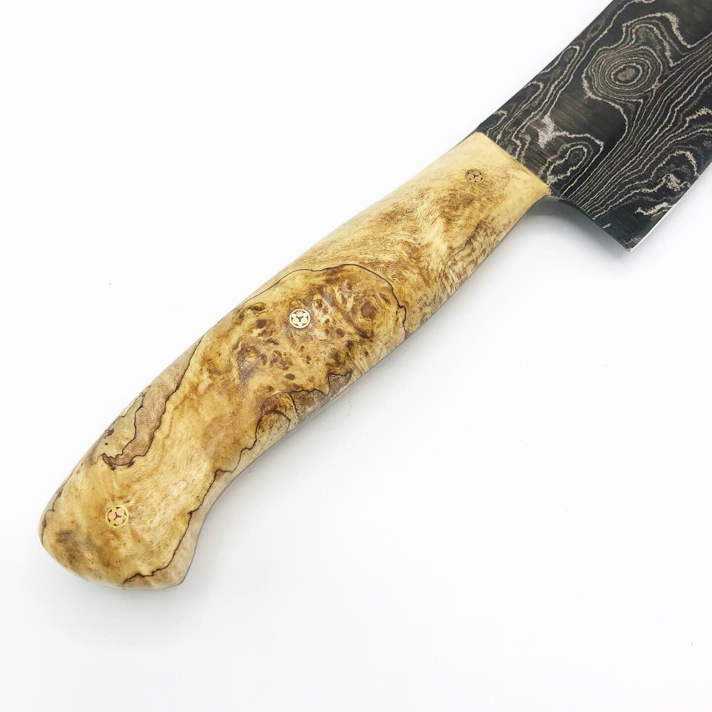 Black Damascus Spalted Maple Chef Knife 001 - No One Alike