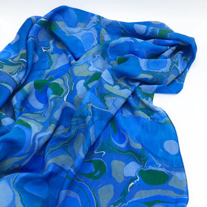 Cerulean Blue Large Silk Wrap - No One Alike