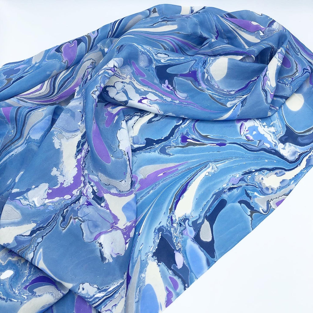 Signature Blue Large Silk Wrap - No One Alike