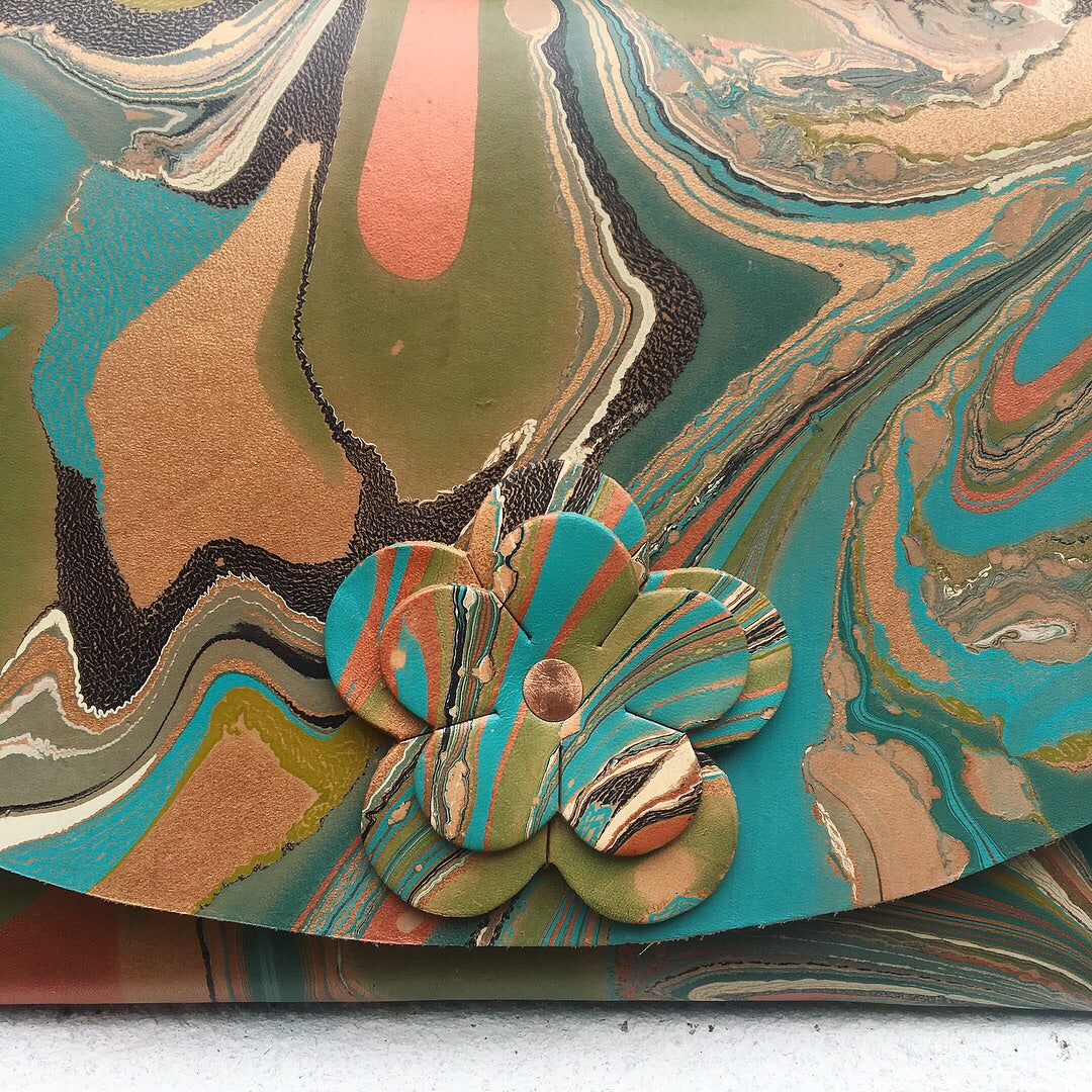 Hard Back Floral Curved Clutch Olive & Teal - No One Alike
