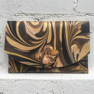 Hard Back Floral Curved Clutch Granite & Gold - No One Alike