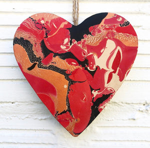 Red Crackle Leather Heart - No One Alike