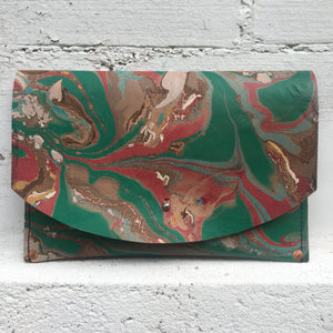 Hard Back Curved Clutch Pthalo Green - No One Alike