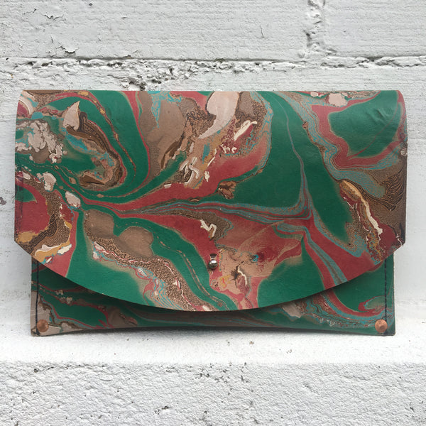 Hard Back Curved Clutch Pthalo Green
