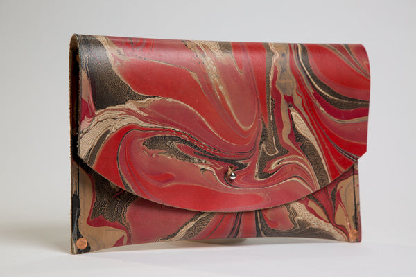Red Thick Leather Clutch
