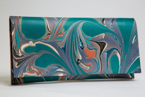 Copper and Teal Thick Leather Clutch