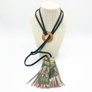 Ruby Mint Copper Tassel Necklace - No One Alike