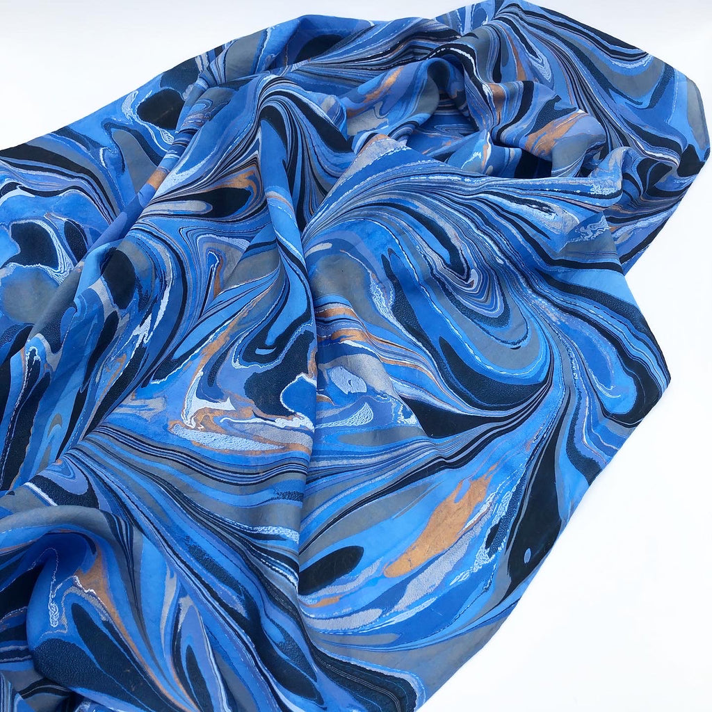Blue Tiger Large Silk Wrap - No One Alike