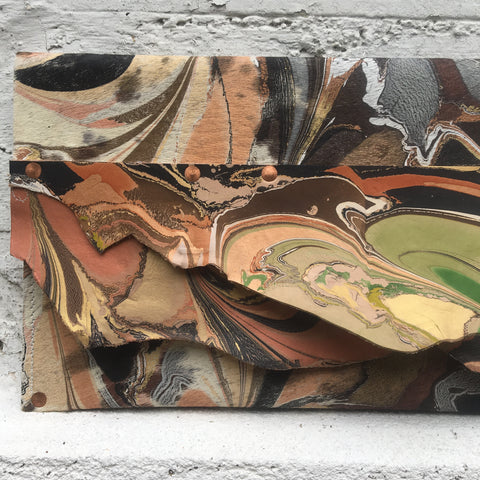 Mixed Media Olive & Copper Layers Clutch
