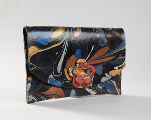 Floral Black Leather Hard Back Clutch - No One Alike
