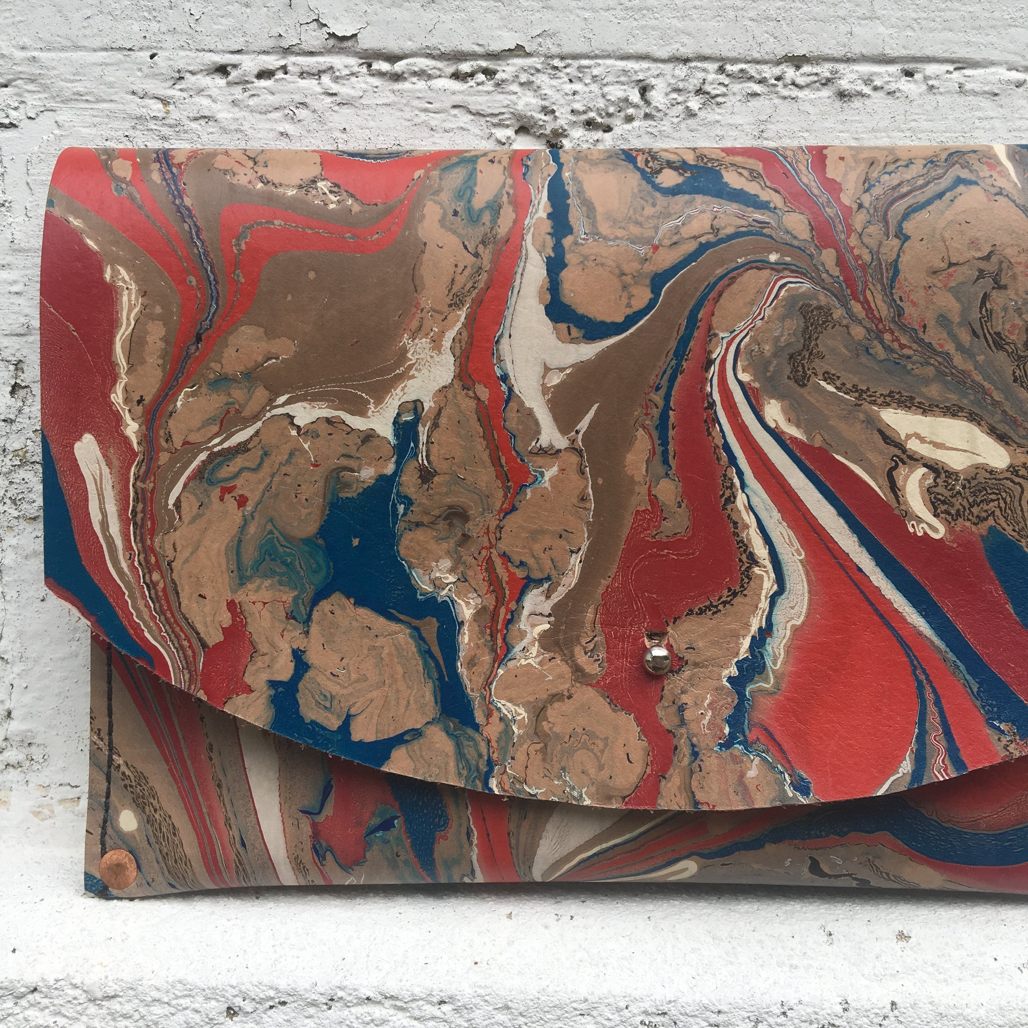 Hard Back Curved Clutch Red & Blue - No One Alike