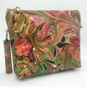 Green & Pink Floral Pouch Clutch - No One Alike