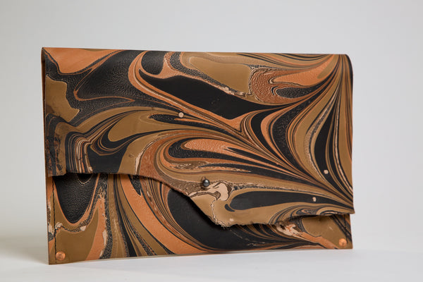 Deep Brown Leather Clutch