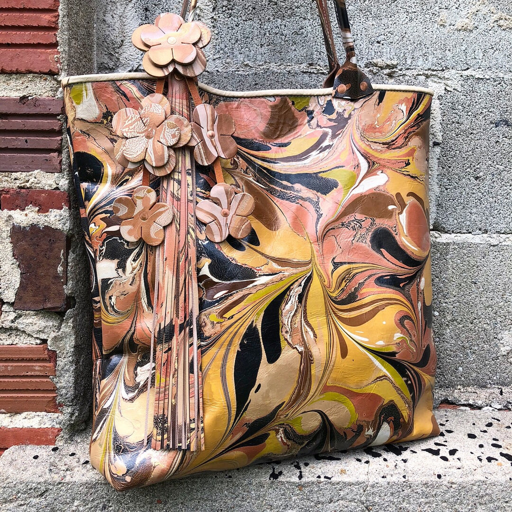 Sunny Large Leather Floral Tote - No One Alike