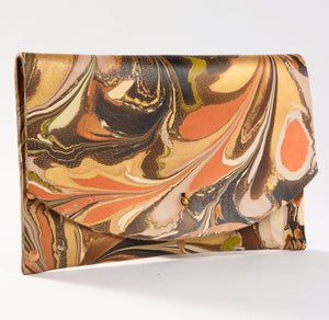 Hard Back Curved Clutch Copper & Neutrals - No One Alike