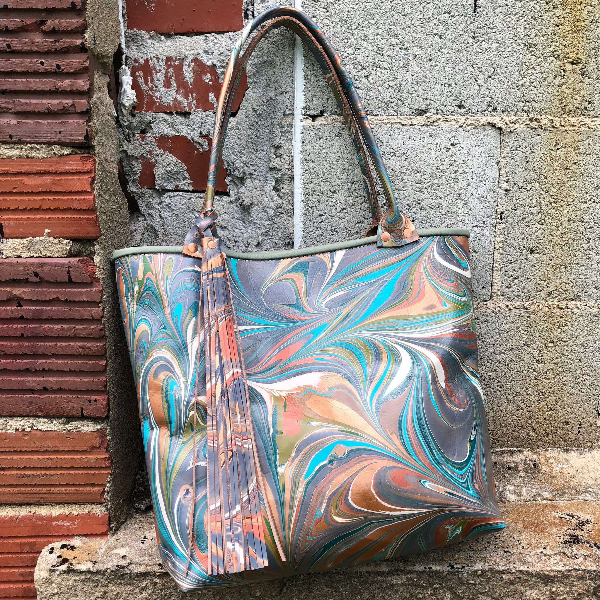 Teal Day Dream Small Tote - No One Alike