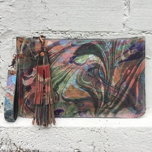 Zipper Pouch Clutch Metallic Hair on Hide - No One Alike