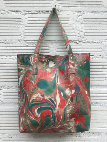 Teal and Rose Large Tote