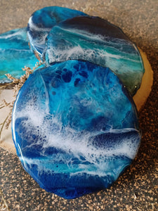 Deep Within the Blues... - Bark Edged Wooden Coasters (Set of 4)