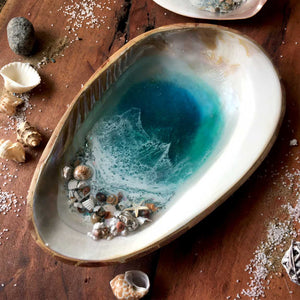 MOP Ocean Trinket Tray (Large-With Bamboo Back)
