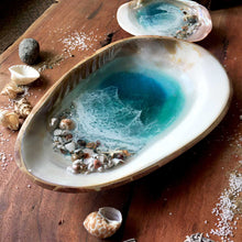 Load image into Gallery viewer, MOP Ocean Trinket Tray (Large-With Bamboo Back)