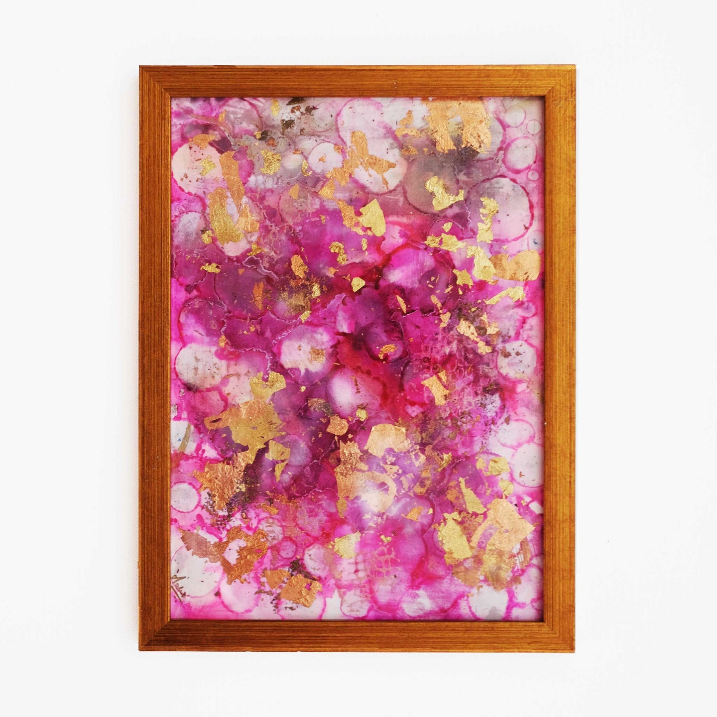 Pink Sorbet - Original Handpainted Framed Wallart (With metal leafing)