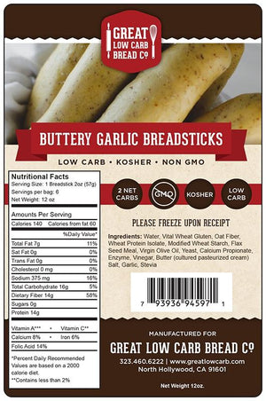 Great Low Carb Bread Company - Breadsticks - Buttery Garlic - 12 oz bag of 6