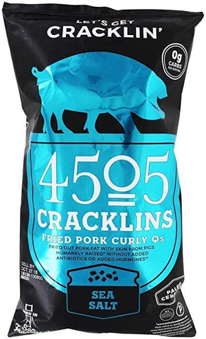 4505 Cracklins Fried Pork Curly Qs - Sea Salt - 3 oz Bag