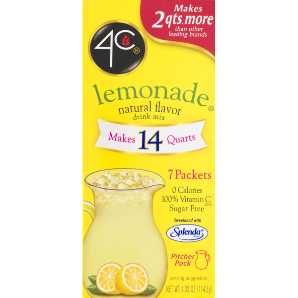 4C Totally Light Drink Mix - Pitcher Pack - Lemon Flavor - 7 packets