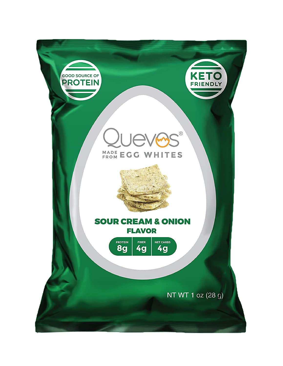 Quevos Egg Whites - Sour Cream & Onion Flavor - 1 oz bag