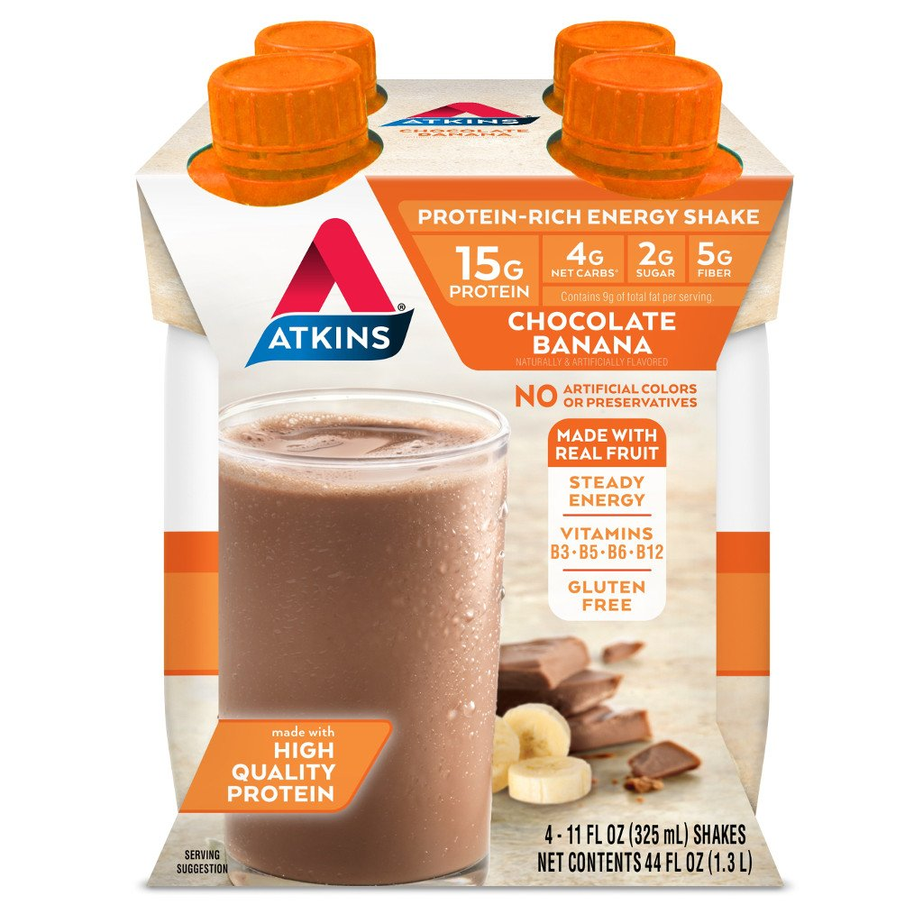 Atkins - Ready to Drink Shakes Advantage - Chocolate Banana - 4 Pk