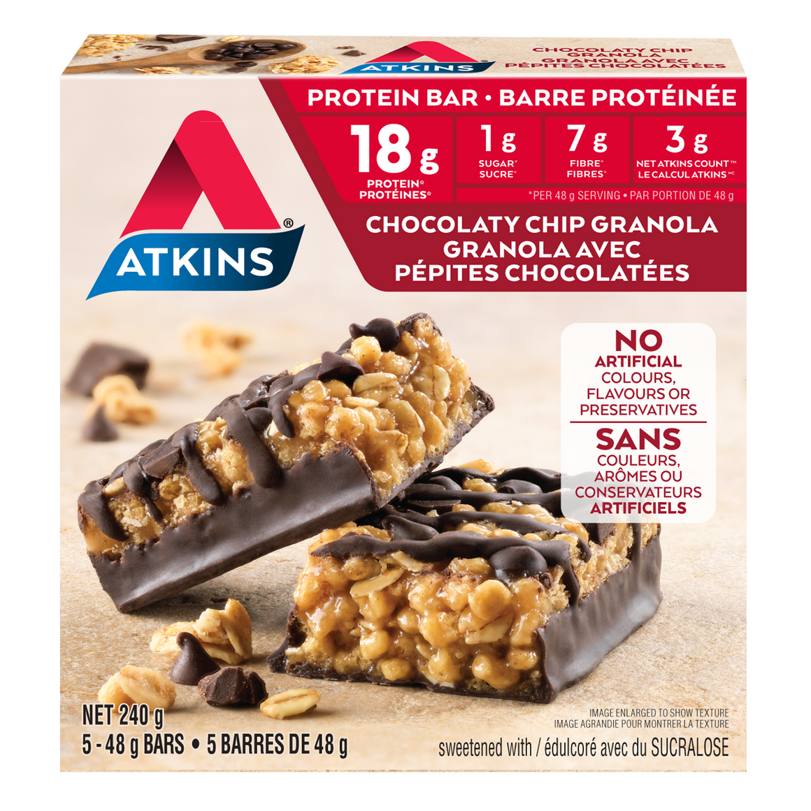 Atkins - Protein Bar - Chocolaty Chip Granola - 5 Bars
