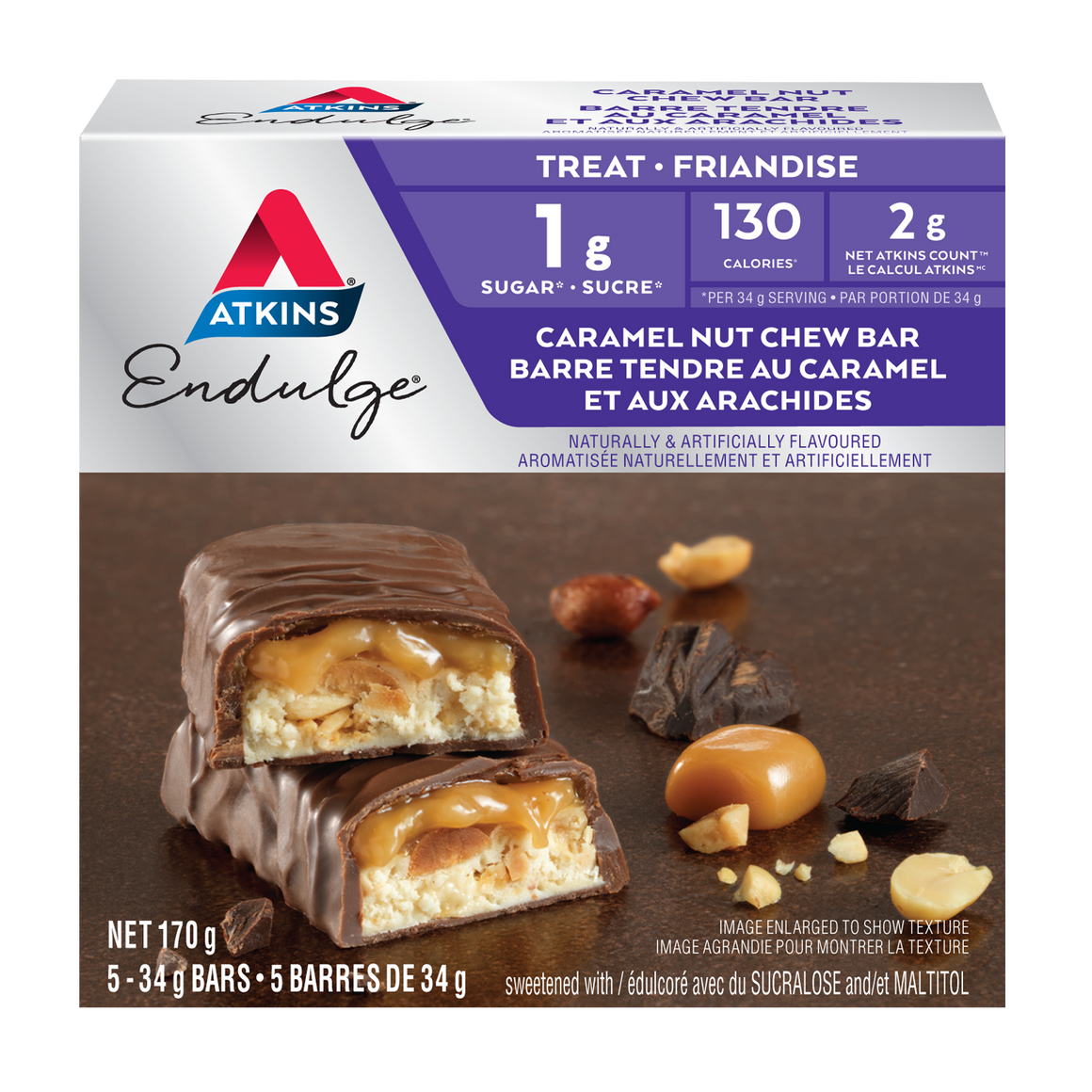 Atkins Endulge Treat - Caramel Nut Chew Bar - 5 Bars