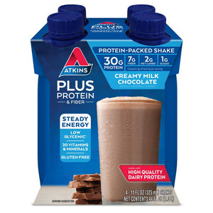 Atkins PLUS Protein Shake - Creamy Milk Chocolate - 4 Pk