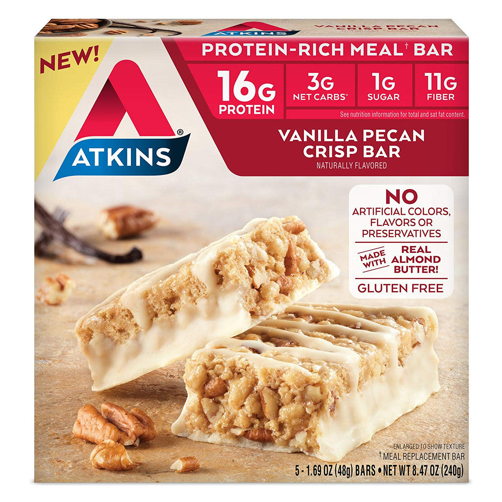 Atkins - Meal Bars - Vanilla Pecan Crisp - 5 Pack
