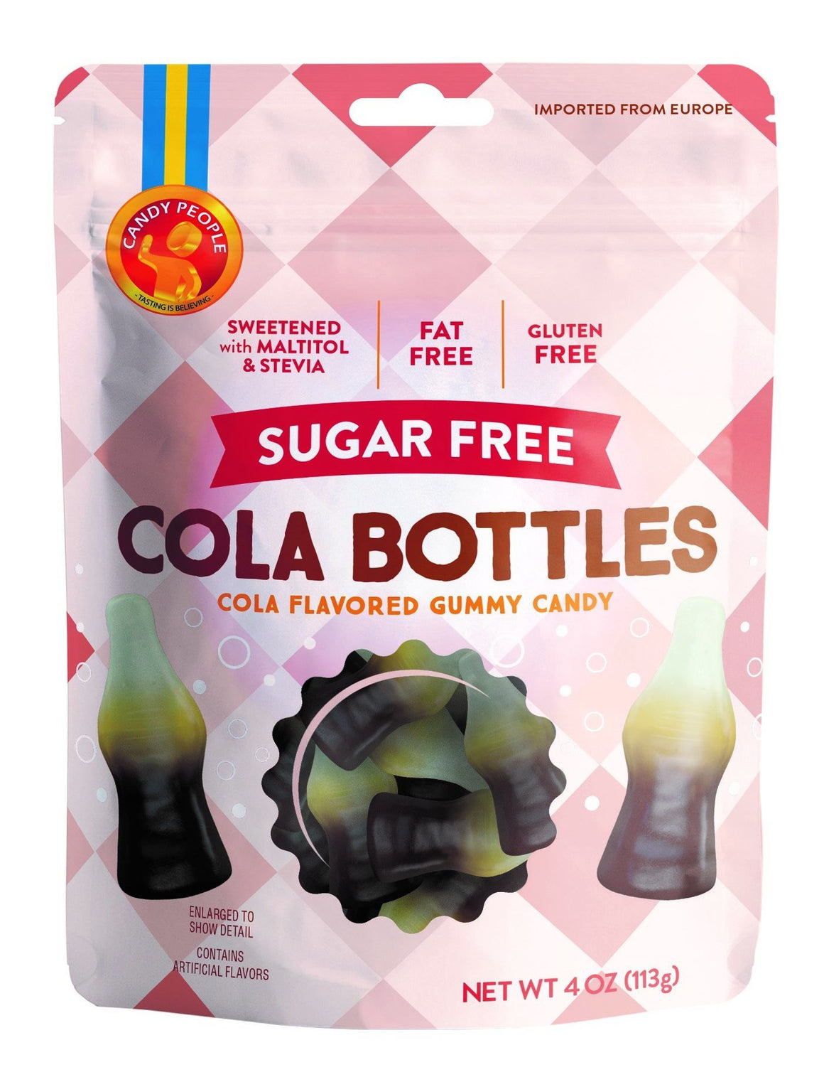 Candy People -  Sugar Free Cola Bottles - Cola Flavored Gummy Candy - 4 oz bag