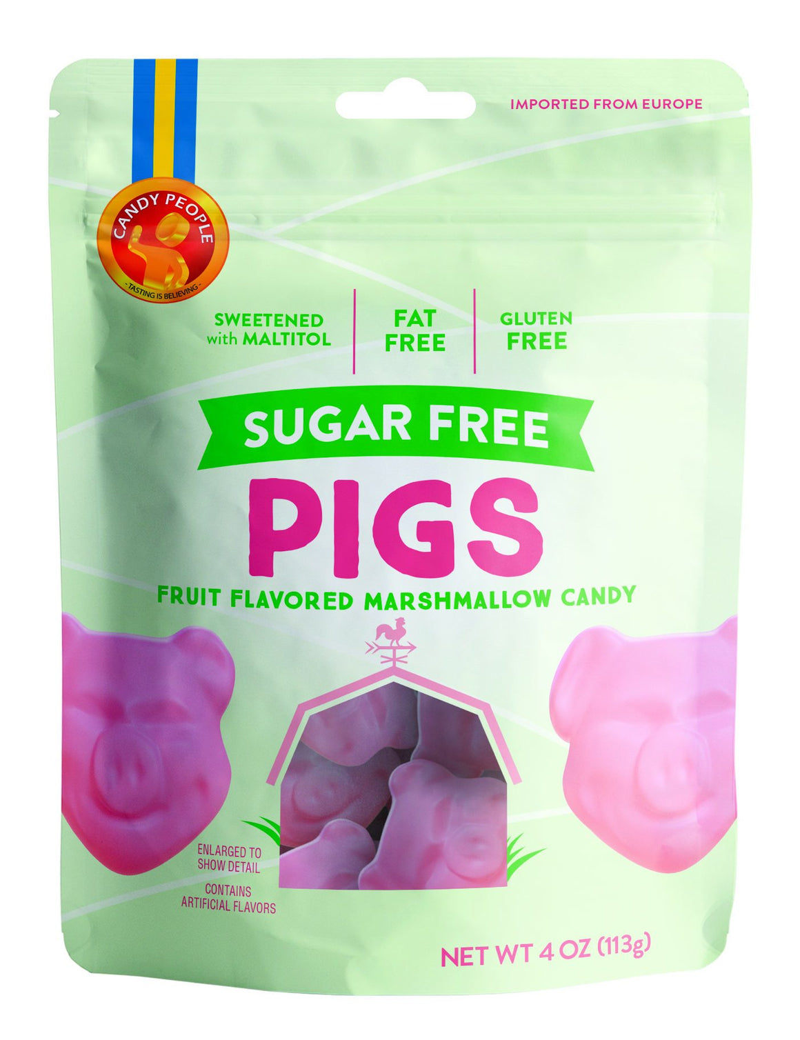 Candy People -  Sugar Free Pigs - Fruit Flavored Marshmallow Candy - 4 oz bag